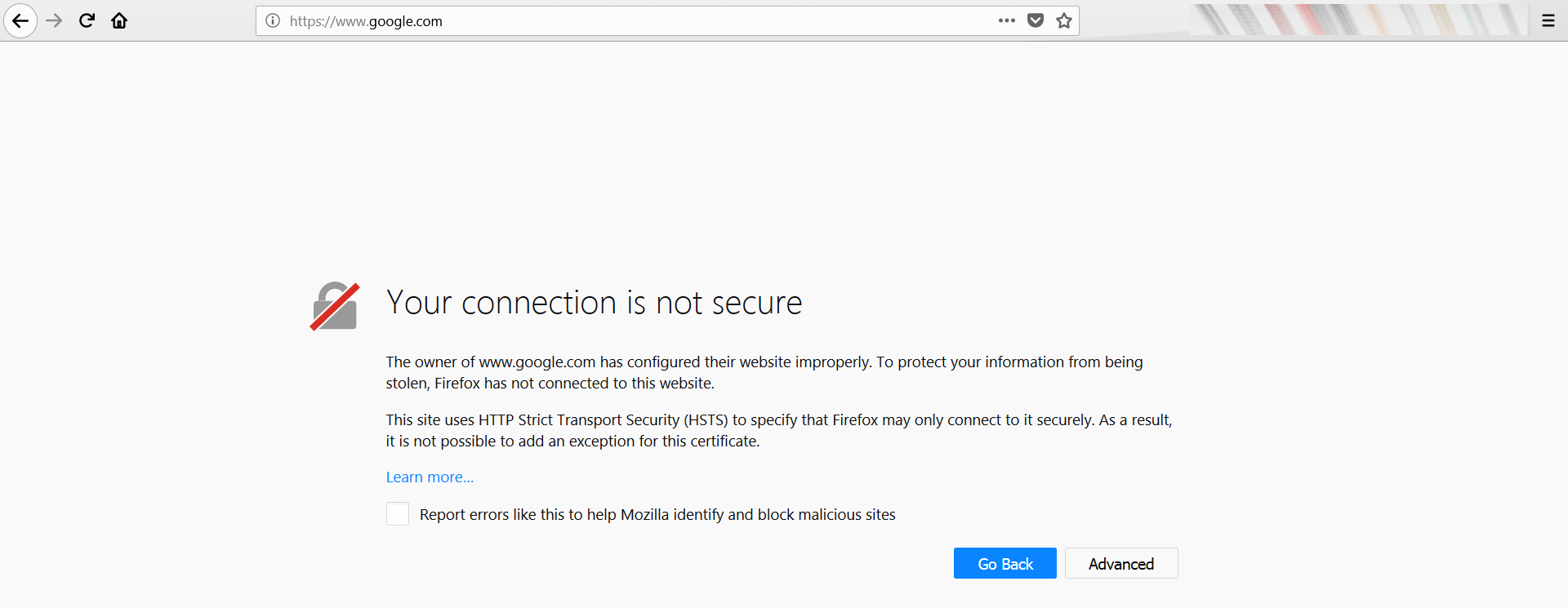 Firefox warning - Your connection is not secure